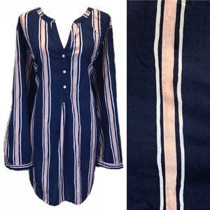 EUC Simply Emma 3x Striped Half Button Tunic Top